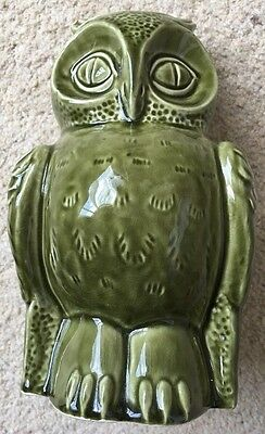 Vintage green owl Dartmouth Pottery moneybox c 1970s.