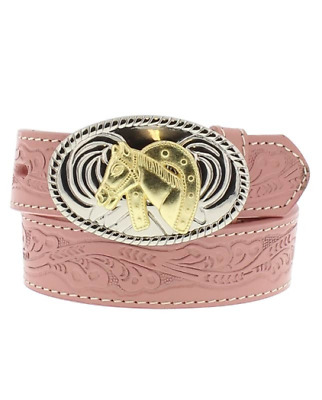 Belt Nocona Pink embossed Girls Horse Buckle Country and Western Cowgirl