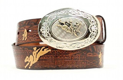 Belt Nocona Brown Bullrider Embossed Boys Country and Western Cowboy