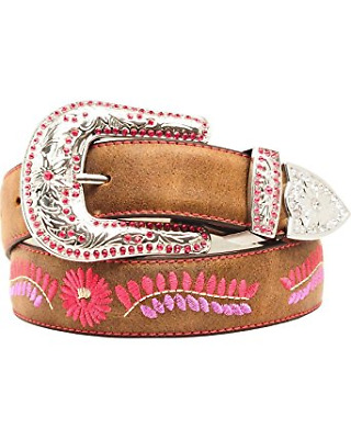 Belt Blazin Roxx Girls Brown Pink and Purple Flower Country and Western Cowgirl