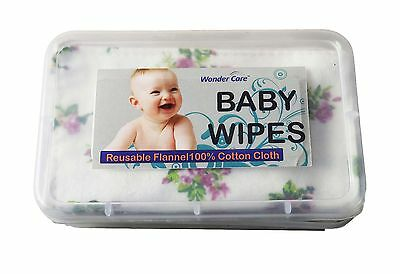 WC - Reusable-Baby-Wipes-100%Cotton-Flannel-Cloth-2-Layer-Assorted-Color-Prints