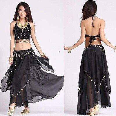 Belly Dance Costume (5 Flower Top,Gold Coins Skirt) Carnival Fancy Outfit Wear