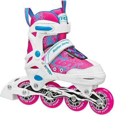 Roller Derby Ion Girls Adjustable Inline Skates Rollerblades Blades US 2 - 5