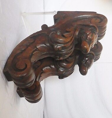 2 antique architectural french corbel carved wood  of oak dog chimera  N°1/ 2