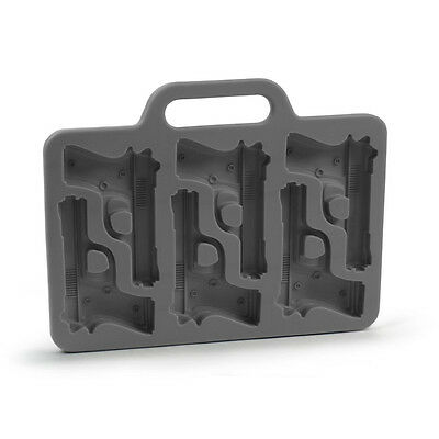 New Black Stylish Gun Shaped Silicone Ice Cube Mould Mold Tray DIY BF