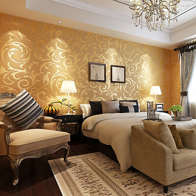 10M/Rolls Damask 3D Embossed Textured Non-woven Wallpaper TV Background Decor