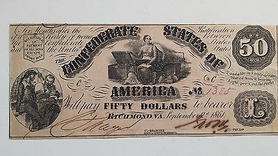 "T-14 $50. Confederate States of America Note AU PF-2 ""Awesome"""