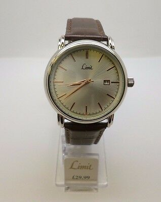 Limit Gentlemens Stainless Steel Watch, silver face & brown faux leather strap