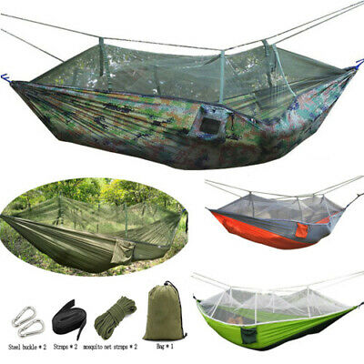 Outdoor Camping Mosquito Net Nylon Hammock Hanging Sleeping Swing Parachute Bed