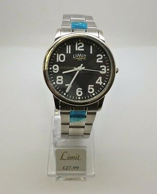 Limit Gentlemens Stainless Steel Watch with black face and stainless steel strap