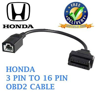 HONDA 3 PIN To 16 PIN OBD2 OBDII Cable Adapter Car Diagnostic Connector
