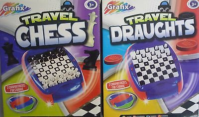 Mini Travel Chess or Checkers (Draughts)