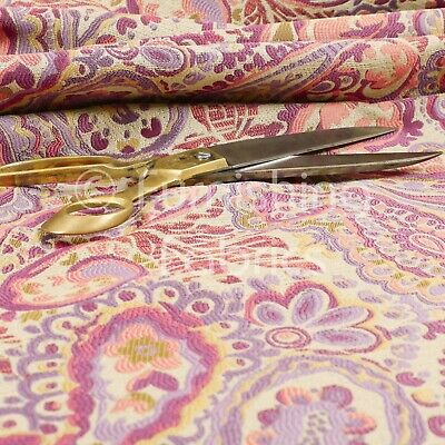 All Over Paisley Pattern Purple Lilac Colour Chenille Upholstery Curtain Fabrics
