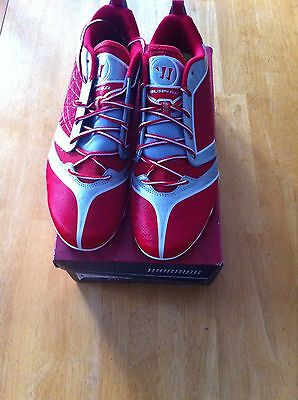 warrior lacrosse shoes burn6ltr red & white size 13