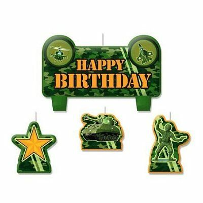 Army Camo Camouflage Birthday Party Cake Candles Set Of 4 Tank Military Soldier