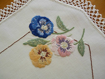NOT-SO-PERFECT PANSIES Vintage Hand Embroidered Duchess / Dressing Table Set