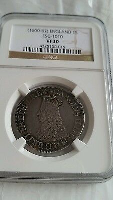 Great Britain(1660-62) Charles Ii Hammered Shilling First Issue Vf30