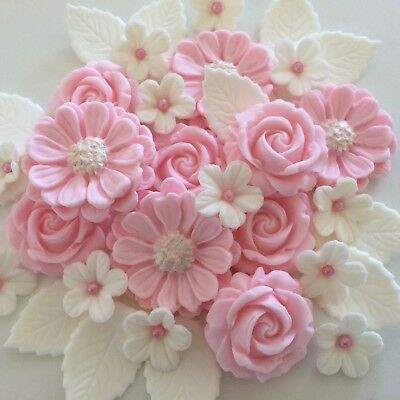 IVORY BLUSH ROSE BOUQUET edible sugar paste flowers cup cake decorations wedding