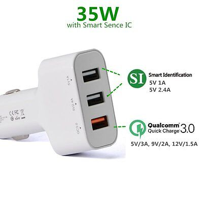 [Quick Charge 3.0] 3 Port Rapid USB Car Charger Adapter for iPhone 5 6 7 Plus