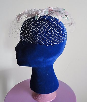 Vintage Llight Pink Net Veil Hat with flowers and pink ribbon