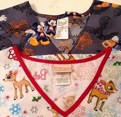 Animated Scrub Top Holiday Lot Womens Medium M New Without Tags (2) Tops