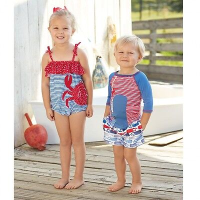 Mud Pie Boathouse Baby One Piece Swimsuit with Ruffled Neckline and Crab Appliqu