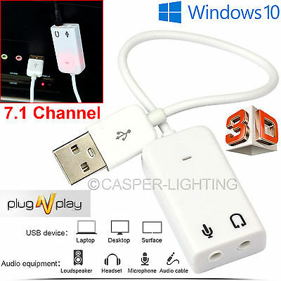 USB 2.0 Virtual 7.1 Channel Audio Sound Card Adapter 3D for XP Windows 7 10 Mac