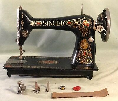 ANTIQUE 40 SINGER 40 Red Eye Treadle Sewing Machine WExtras Awesome 1921 Singer Sewing Machine