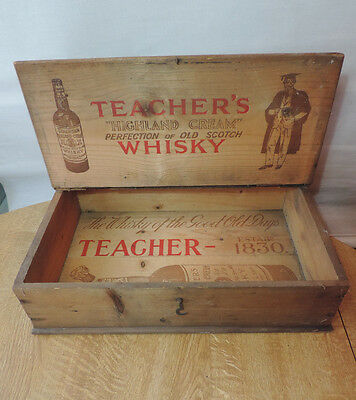 Vintage Teachers Whisky- Wooden Advertising Box with Lid