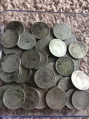 "Nice Lot Of 51 ""V""/Liberty Head Nickels 16 different Full dates some rainbow"