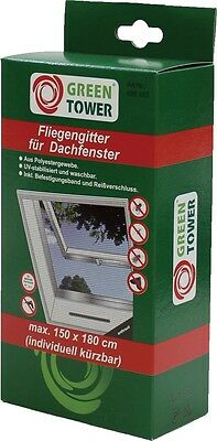GREEN TOWER FLIEGENGITTER Dachfenster 150x180 Anthazit Insektenschutz Gitter