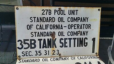 Nice 1950s Standard Porcelain Oil Well Lease Gas Sign