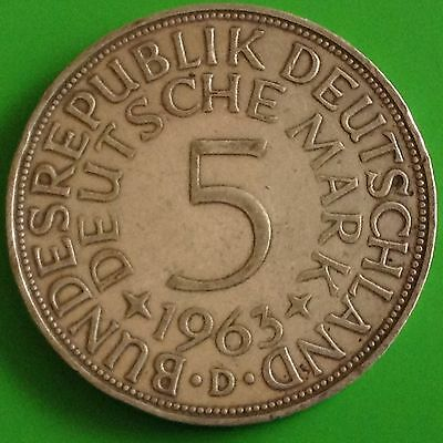 1963 - D  Germany Silver 5 Mark Coin
