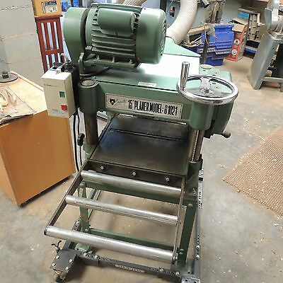 """Grizzly 15"""" Model G1021 Planer 2hp  w/Mobile Base & roller feeds Great Machine!"""