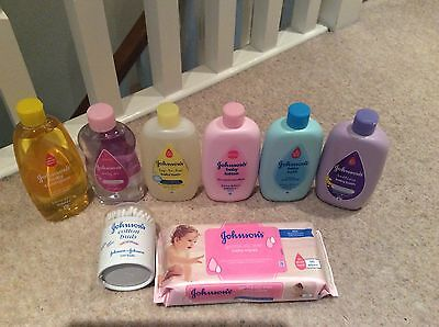 Johnson & Johnson Newborn Starter Set ~ Bath Shampoo Oil Wipes Wash  ~ 8 Items