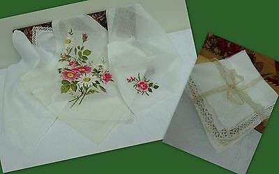 4 x Antique Vintage Handkerchief Embroidered Wedding Hanky Lace Rose Floral Lace