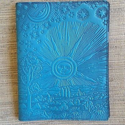 Roof of Heaven Leather Composition Notebook Cover sky blue 8x10.25 Oberon Design