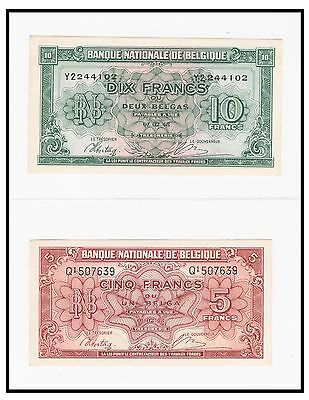 Two 1943 Belgium Bank Notes