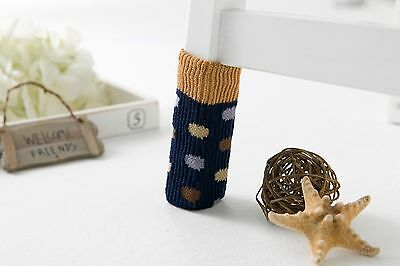 12 Pieces Dots(Navy) knitting wool double layer furniture /chair socks - Calgary