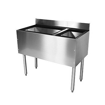 """Glastender C-CBA-42R Cocktail Unit Combo Ice Bin 42"""" with Right Bottle Well"""