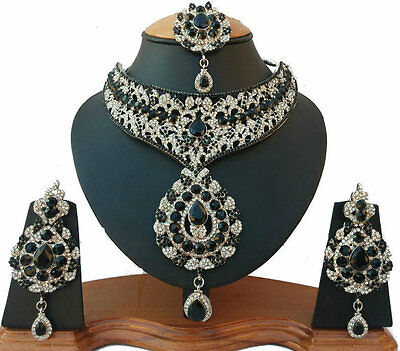 Indian Jewellery Set Black Clear Stones Silver Plated New Aq/83