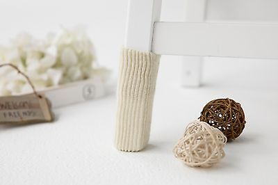 12 Pieces Pure Beige knitting wool double layer furniture /Chair socks -- YYC