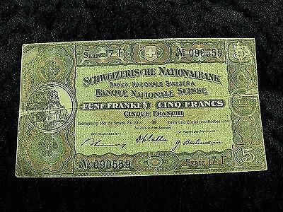 1936 Switzerland $5 Francs Bank Note In Circulated Condition