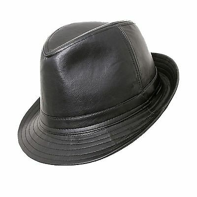 Black Faux Leather PVC Trilby Hat Leather Look 5 Sizes