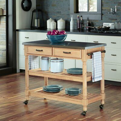 Beautiful Home Styles Natural Designer Utility Cart With Stainless ...