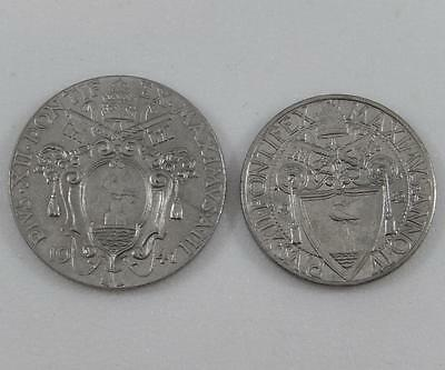 Vatican City 1941 1 Lira 1942 50 Centesimi 2 Coin High Grade Lustrous Lot C0108