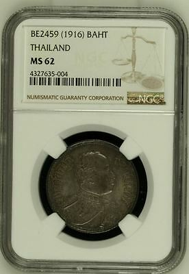 1916 (BE2459) Thailand 1 Baht, NGC MS62