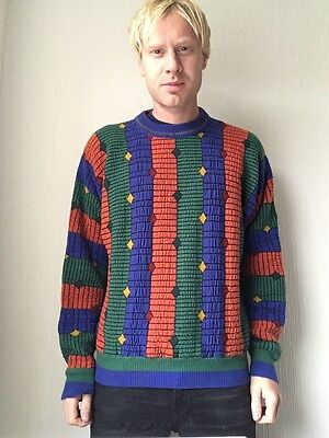 Vintage Coogi Cosby Sweater Jumper Wool Crazy Patterned M Grunge