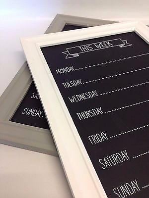 Classic Shabby Chic Wooden Frame Chalk Board Weekly Menu Note Planner With Chalk
