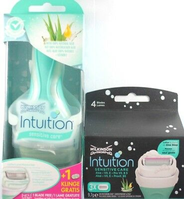 Wilkinson Intuition Sensitive Care  Razor with 2 blades plus 3 Sensitive Refils